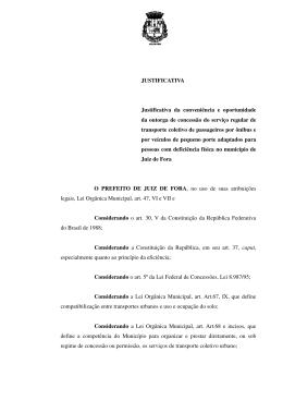 Justificativa - Prefeitura de Juiz de Fora