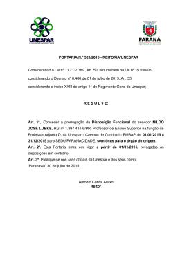 PORTARIA N.º 520/2015 - REITORIA/UNESPAR Considerando a