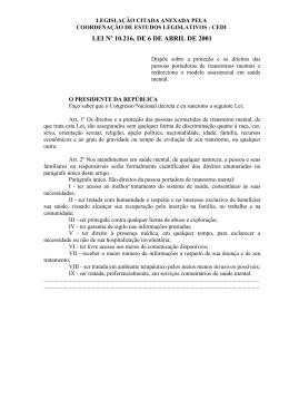 LEI Nº 10.216, DE 6 DE ABRIL DE 2001