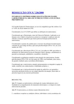 RESOLUÇÃO CFN N.º 236/2000 - Conselho Federal de Nutricionistas