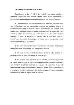 DECLARAÇÃO DE DIREITO AUTORAL Considerando a Lei nº