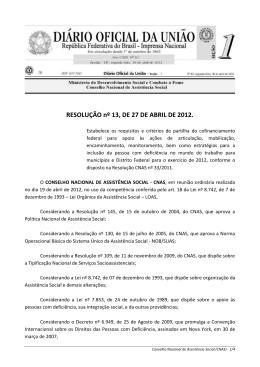 RESOLUÇÃO nº 13, DE 27 DE ABRIL DE 2012.