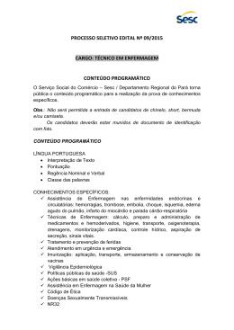 PROCESSO SELETIVO EDITAL Nº 09/2015 CARGO: TÉCNICO EM