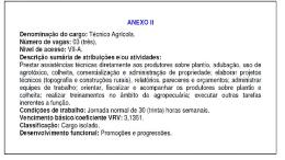 ANEXO II Denominação do cargo: Técnico Agrícola