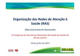 Organização das Redes de Atenção à Saúde (RAS)