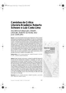 Caminhos da Crítica Literária Brasileira: Roberto Schwarz