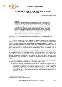 LITERATURA EM SALA DE AULA: DA TEORIA LITERÁRIA À