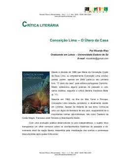 CRÍTICA LITERÁRIA Conceição Lima – O Útero da Casa