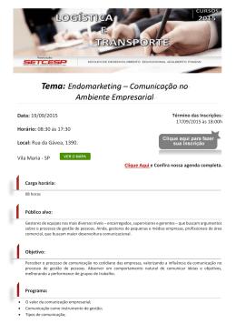 Tema: Endomarketing – Comunicação no Ambiente Empresarial