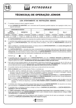 PROVA 18 - TÉCNICO(A) DE OPERAÇÃO JÚNIOR.indd