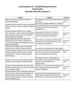 Comunicação oral - 22/10/2015 (quinta-feira) 19:30 (noite