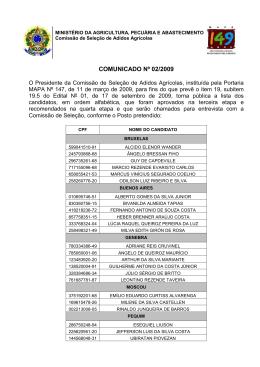 Comunicado Comissão de Seleção Nº 02