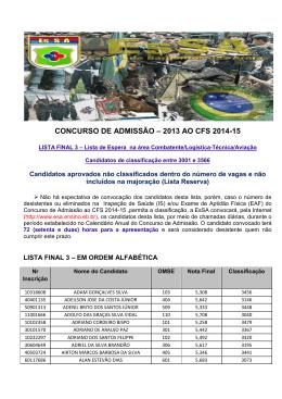 CONCURSO DE ADMISSÃO – 2013 AO CFS 2014-15