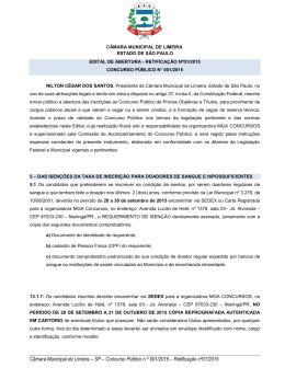 Câmara Municipal de Limeira – SP – Concurso Público n.º 001