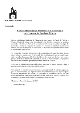 Câmara Municipal contra encerramento da Escola de Cabrela
