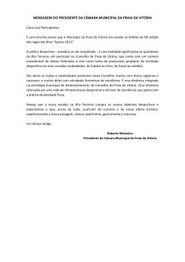 mensagem do presidente da câmara municipal da praia da vitória