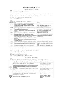 Programação do XII EGEM