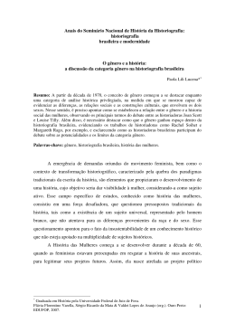 historiografia brasileira e modernidade O gênero e a história