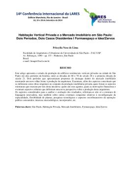 Habitação Vertical Privada e o Mercado Imobiliário em São