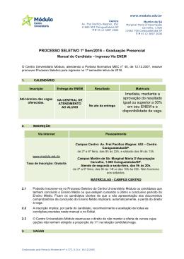 PROCESSO SELETIVO 1º Sem/2016 – Graduação