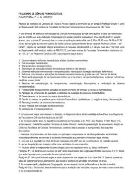 FACULDADE DE CIÊNCIAS FARMACÊUTICAS Edital FCF/ATAc nº