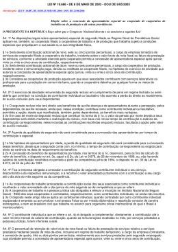 LEI Nº 10.666 - DE 8 DE MAIO DE 2003 - DOU DE 9/05