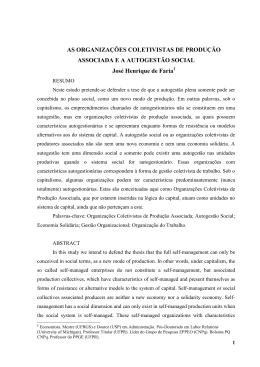 AS ORGANIZAÇÕES COLETIVISTAS DE PRODUÇÃO ASSOCIADA