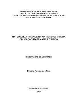 matemática financeira na perspectiva da educação matemática crítica