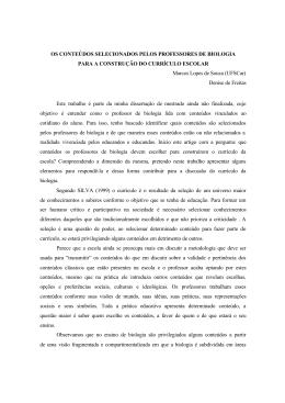 OS CONTEÚDOS SELECIONADOS PELOS PROFESSORES DE