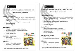 CONTEÚDOS PARA A AVALIAÇÃO DO 2º BIMESTRE – 2015 1º