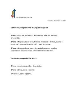 Conteúdos para prova final de Língua Portuguesa: 7º ano
