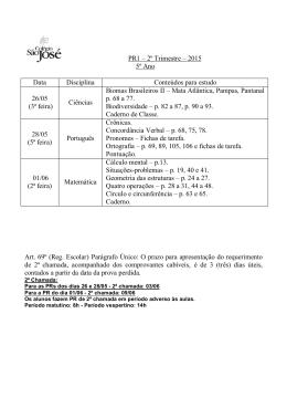 PR1 – 2º Trimestre – 2015 5º Ano Data Disciplina Conteúdos para