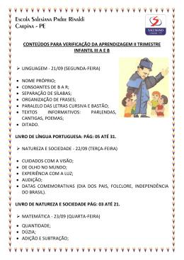 CONTEÚDOS PARA VERIFICAÇÃO DA APRENDIZAGEM II