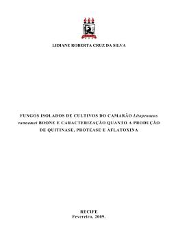 LIDIANE ROBERTA CRUZ DA SILVA FUNGOS ISOLADOS DE