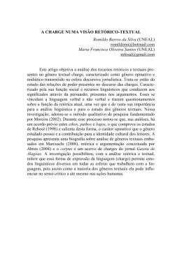 A CHARGE NUMA VISÃO RETÓRICO-TEXTUAL Romildo Barros da