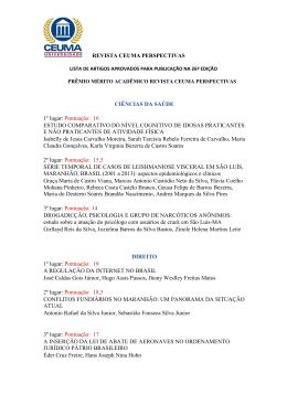 Lista de artigos publicados e premiados na 26ª edição Rev Ceuma
