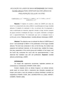 APLICAÇÃO DO LASER DE BAIXA INTENSIDADE EM FUNGO Candida albicans
