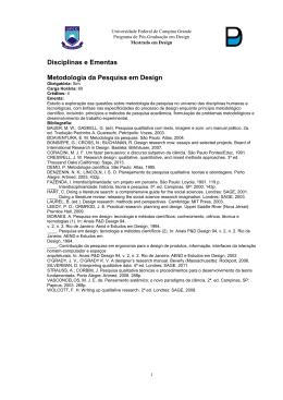 Disciplinas e Ementas Metodologia da Pesquisa em Design