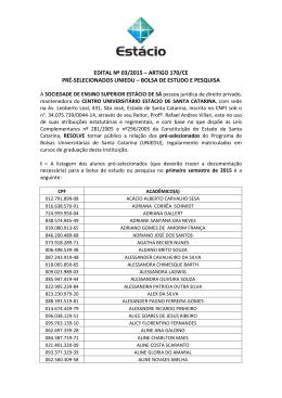 Edital pré-seleção Uniedu 2015.1