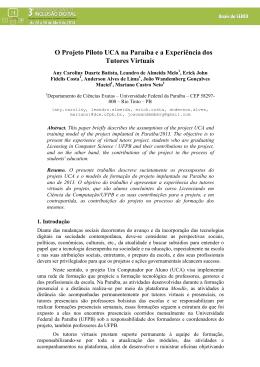 O Projeto Piloto UCA na Paraíba e a Experiência dos