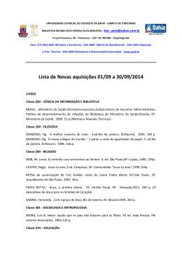 Lista de Novas aquisições 01/09 a 30/09/2014