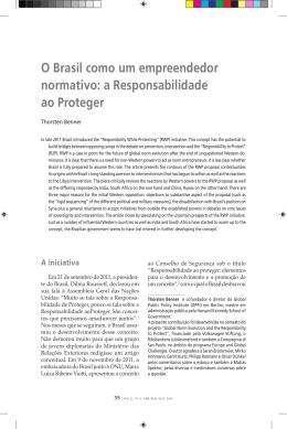 O Brasil como um empreendedor normativo: a Responsabilidade ao