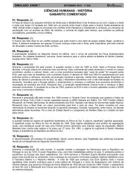 CIÊNCIAS HUMANAS - HISTÓRIA GABARITO COMENTADO