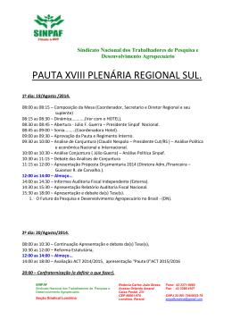 Clique aqui e confira a programação da Plenária Regional Sul