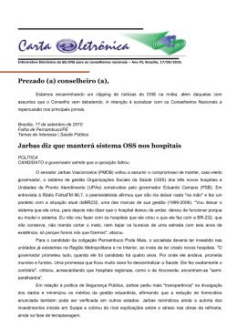 17/09/2010 - Ministério da Saúde