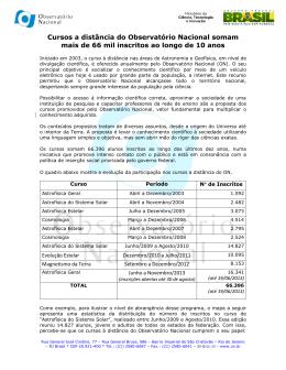 Observatório Nacional tem recorde de inscrições em curso a distância