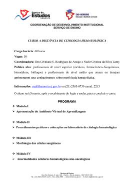 CURSO A DISTÂNCIA DE CITOLOGIA HEMATOLÓGICA
