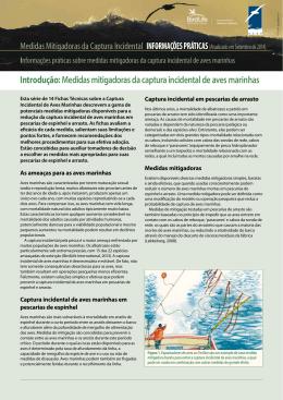 Medidas mitigadoras da captura incidental de aves marinhas