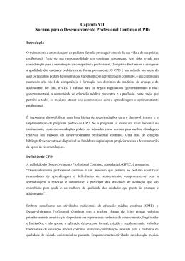 Capítulo VII Normas para o Desenvolvimento Profissional Contínuo