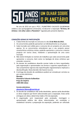 do regulamento - Planetário Calouste Gulbenkian